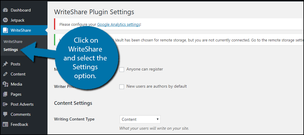 click on WriteShare and select the Settings option.