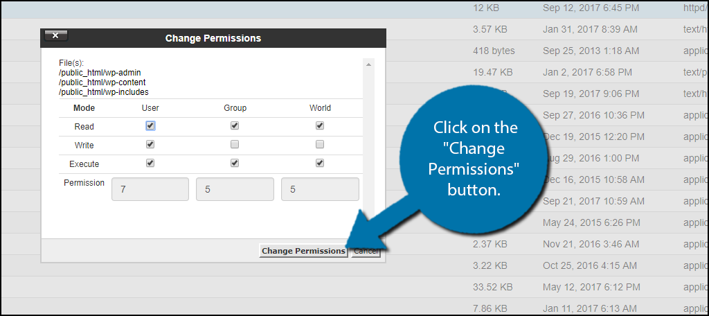 "Click on the ""Change Permissions"" button."