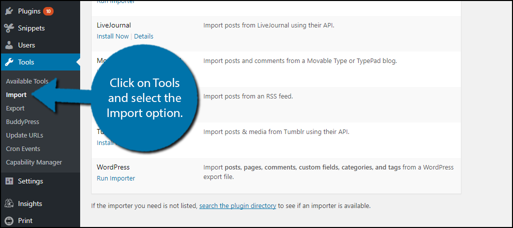 click on Tools and select the Import option.