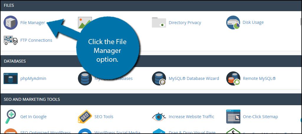 File Manager option.