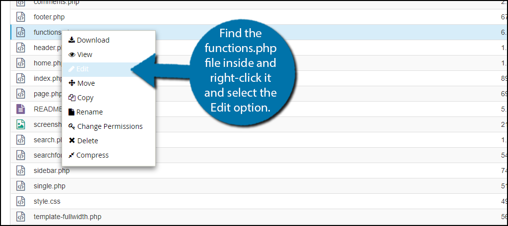 Find the functions.php file inside and right-click it and select the Edit option.