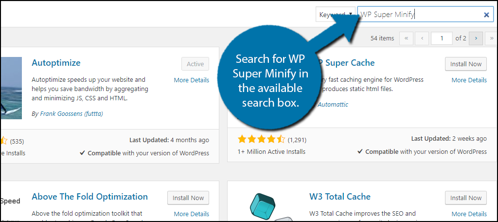Search for WP Super Minify in the available search box.
