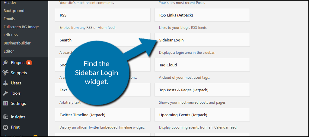 Find the Sidebar Login widget.