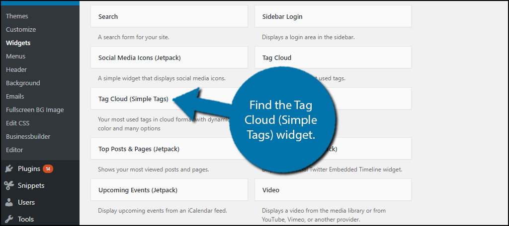 Find the Tag Cloud (Simple Tags) widget.