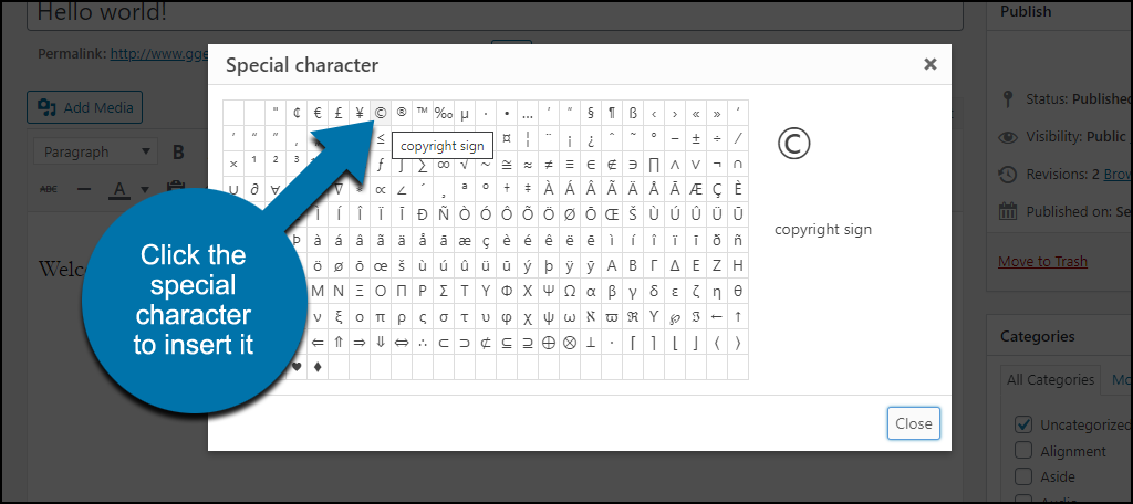 click the special character