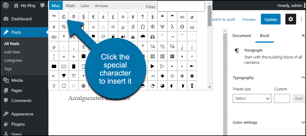 choose special characters