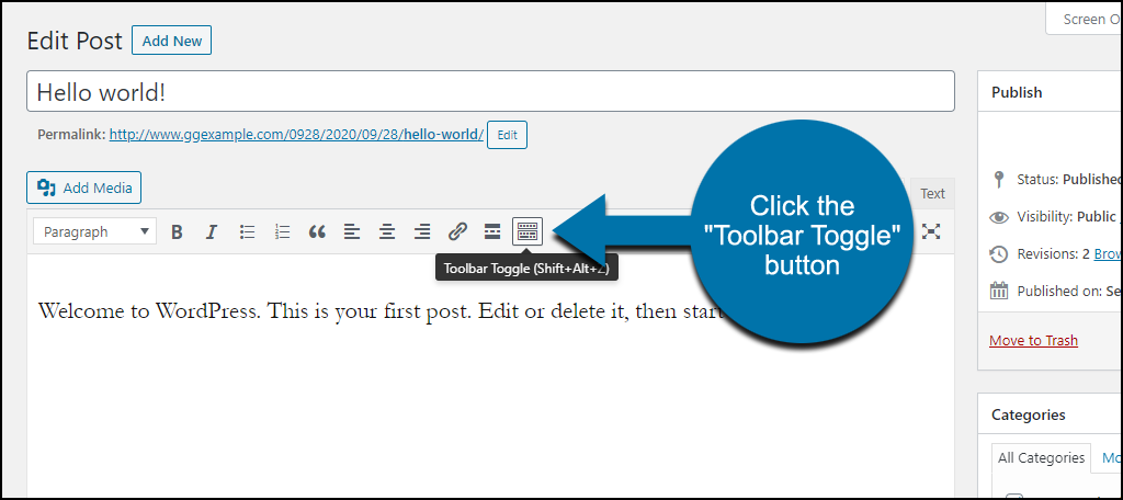 "click the ""Toolbar Toggle"" button"