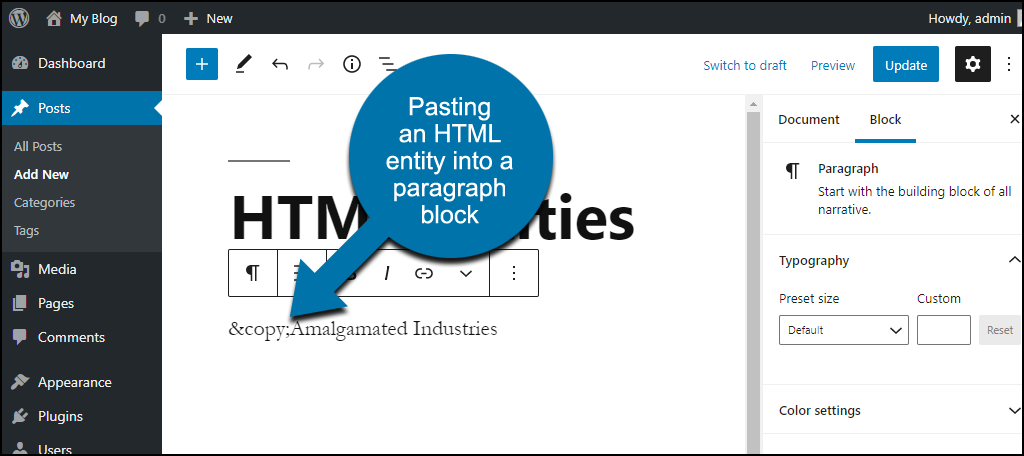 pasting HTML entity into Gutenberg paragraph