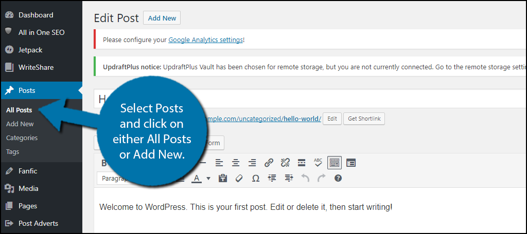 select Posts and click on either All Posts or Add New.
