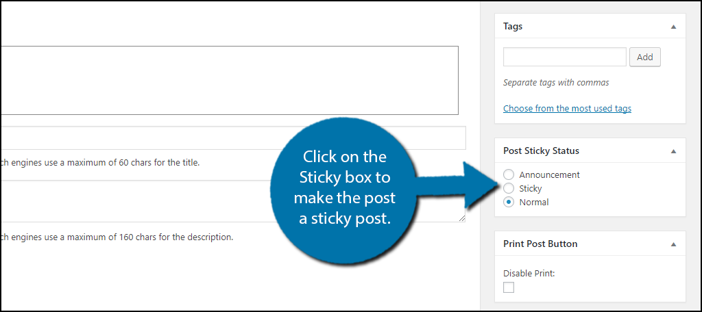 Click on the Sticky box to make the post a sticky post.