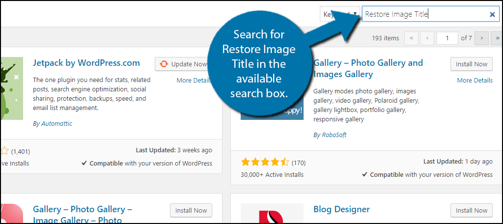 Search for Restore Image Title in the available search box.
