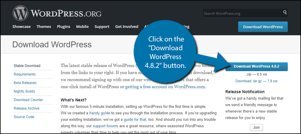 "Click on the ""Download WordPress 4.8.2"" button"