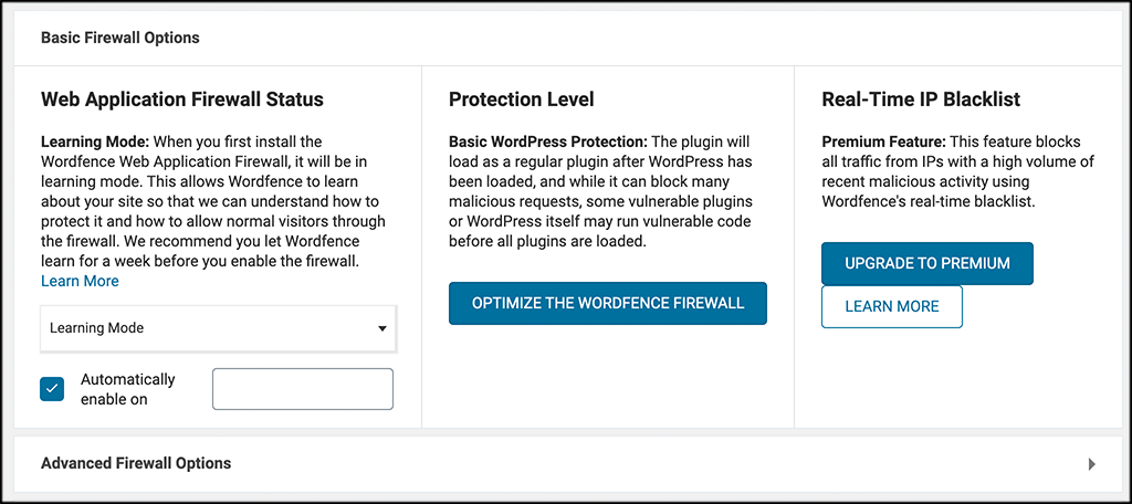 Click on optimize wordfence firewall