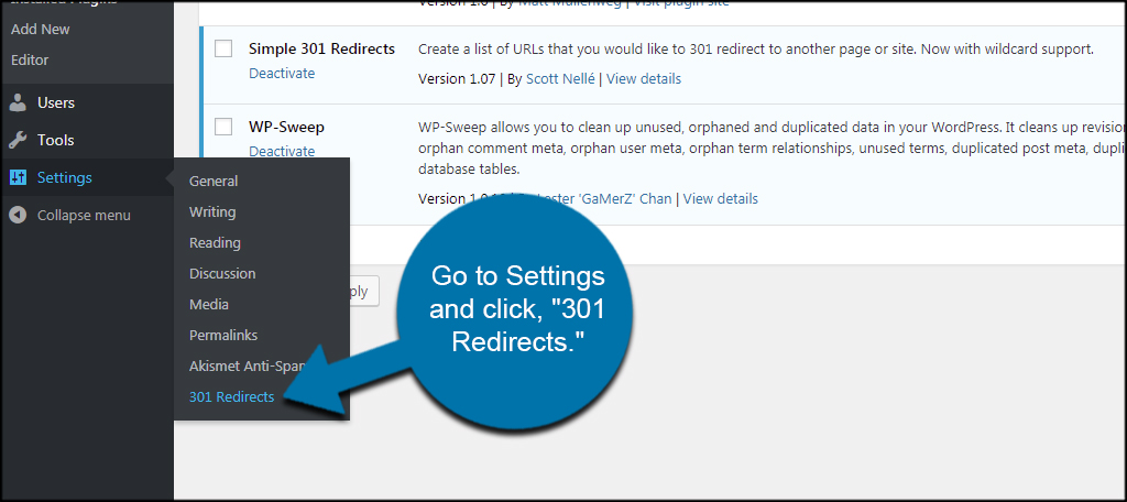 Settings 301 Redirects