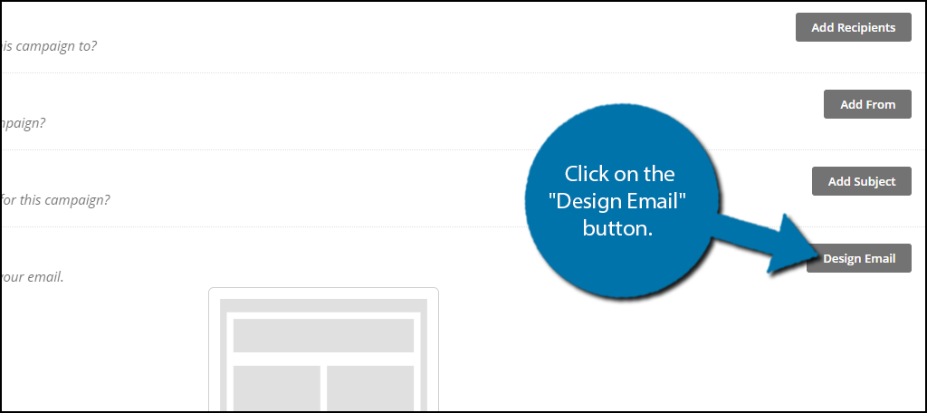 "click on the ""Design Email"" button."