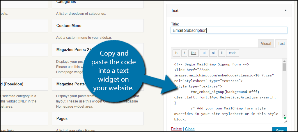 copy and paste the code into a text widget on your website.