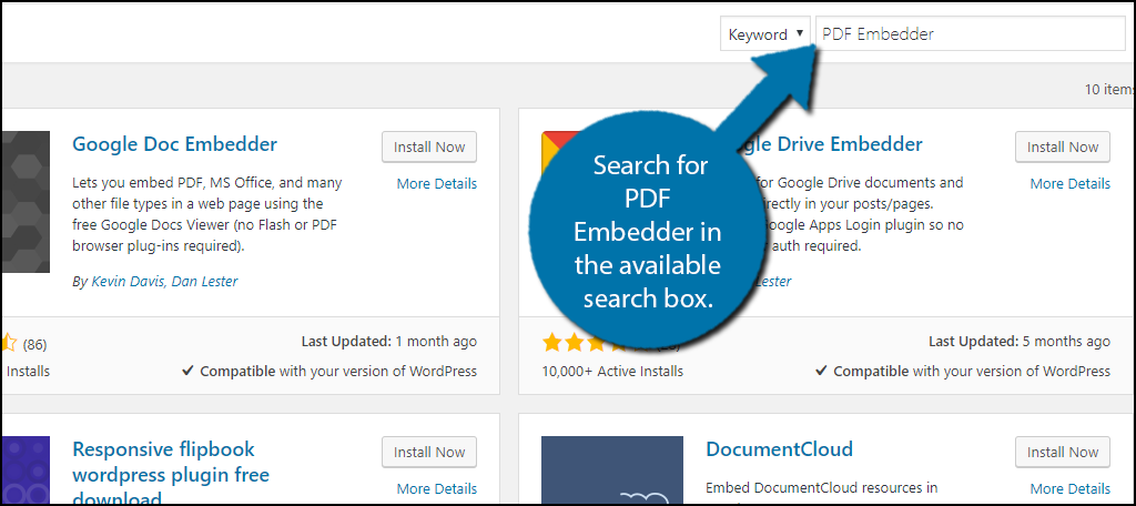 Search for PDF Embedder in the available search box.