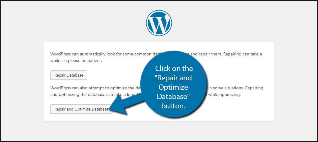 "click on the ""Repair and Optimize Database"" button."