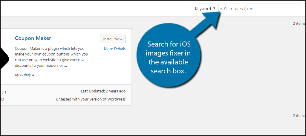 Search foriOS images fixer in the available search box.