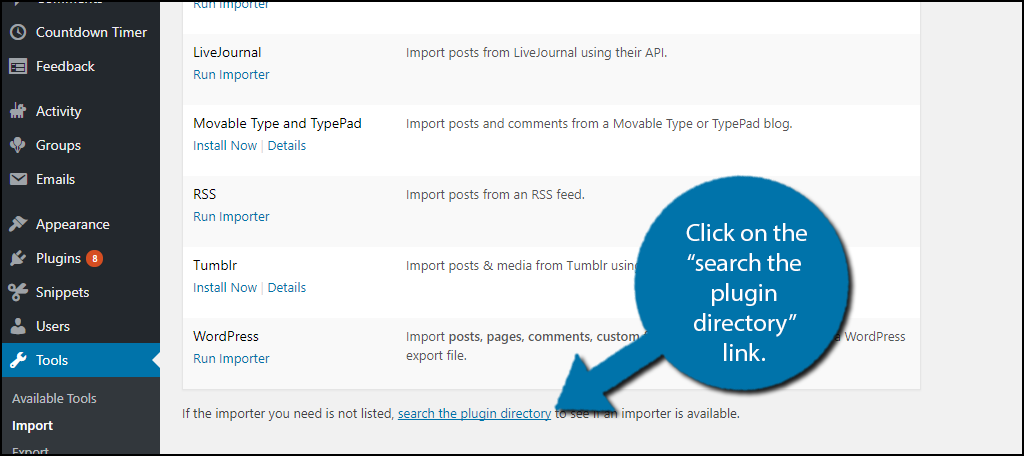 "Click on the ""search the plugin directory"" link."