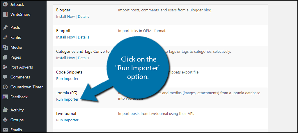 "Click on the ""Run Importer"" option."