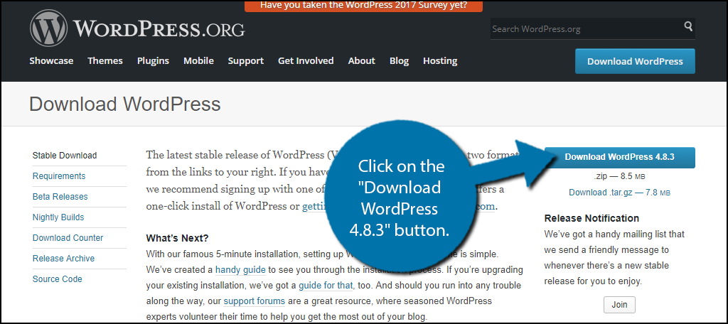 "Click on the ""Download WordPress 4.8.3"" button."