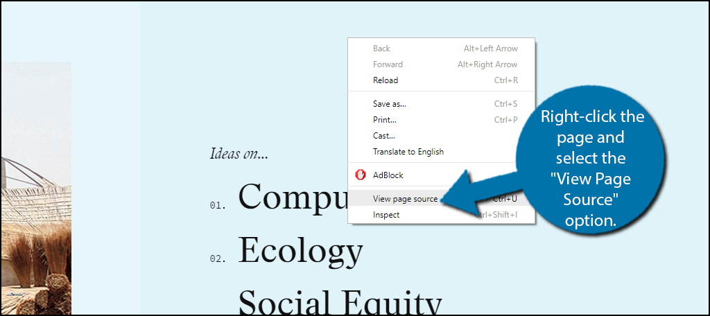 """right-click the page and select the """"View Page Source"""" option."""