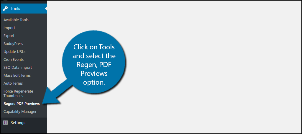 click on Tools and select the Regen, PDF Previews option.