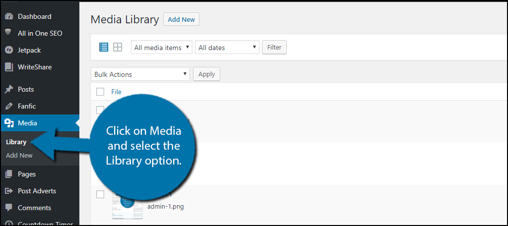 Click on Media and select the Library option.