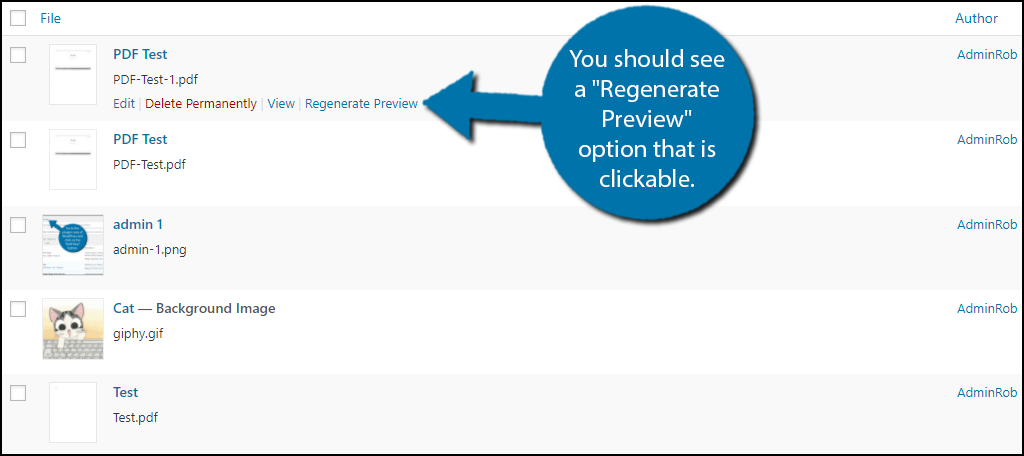 "you should see a ""Regenerate Preview"" option that is clickable."
