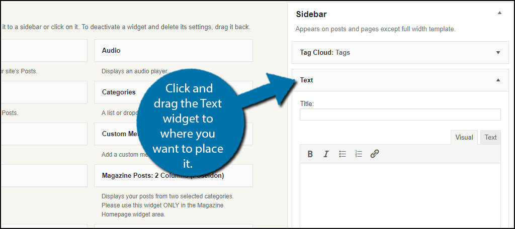 Click and drag the Text widget to where you want to place it.