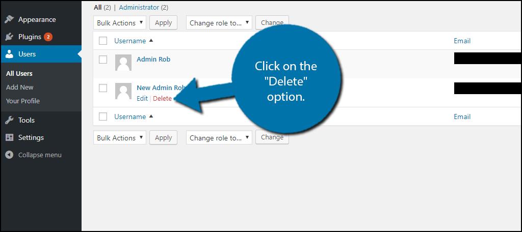 "click on the ""Delete"" option"