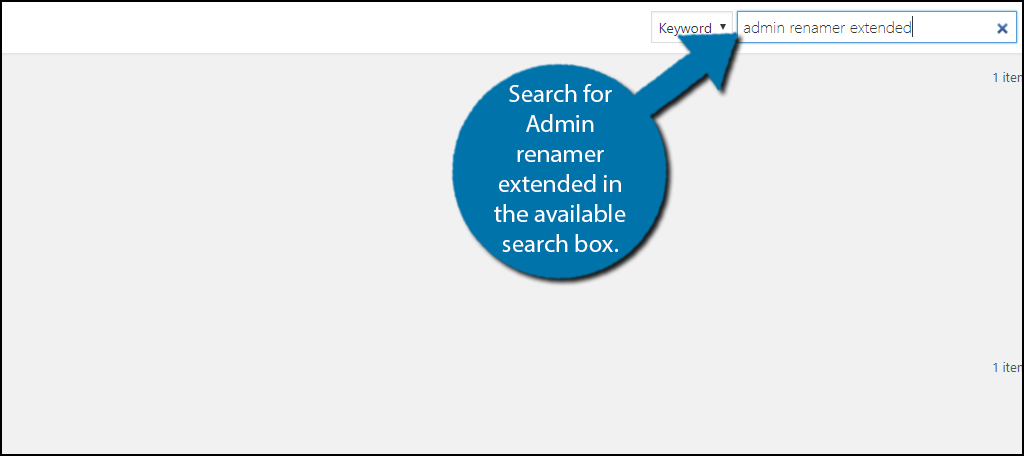 Search forAdmin renamer extended in the available search box.