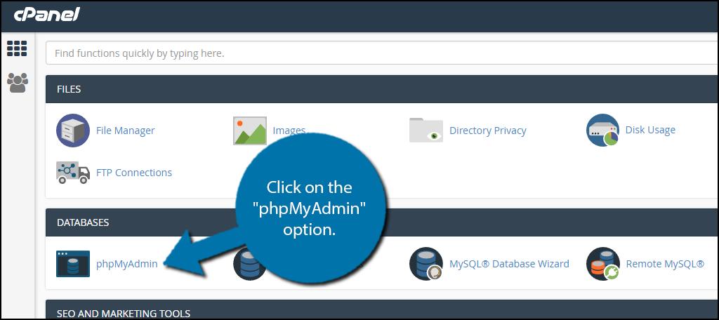 "click on the ""phpMyAdmin"" option"
