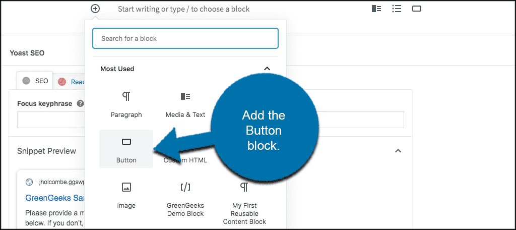 Add button block to align text in wordpress