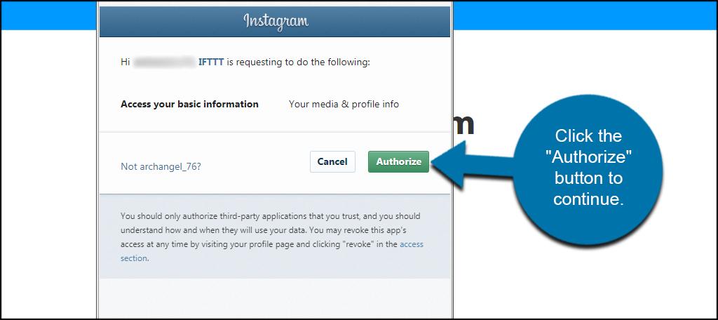 Authorize IFTTT
