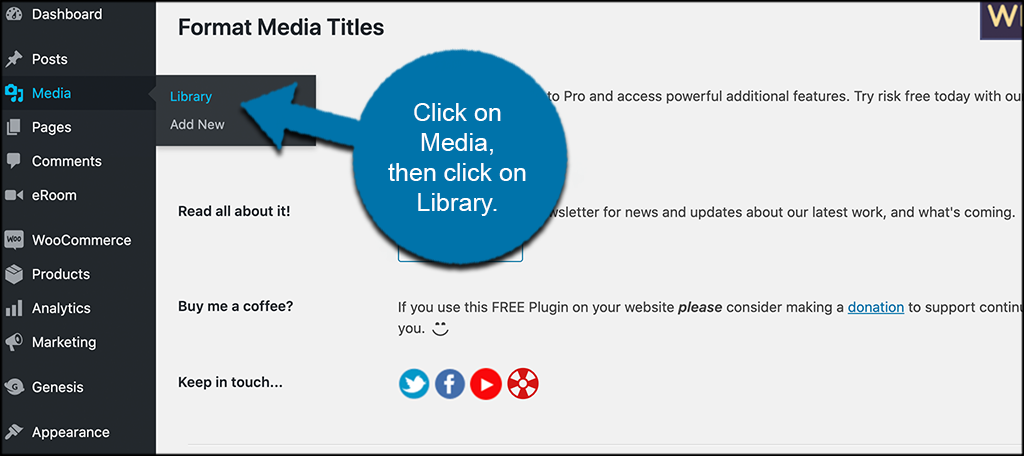 Click media then library