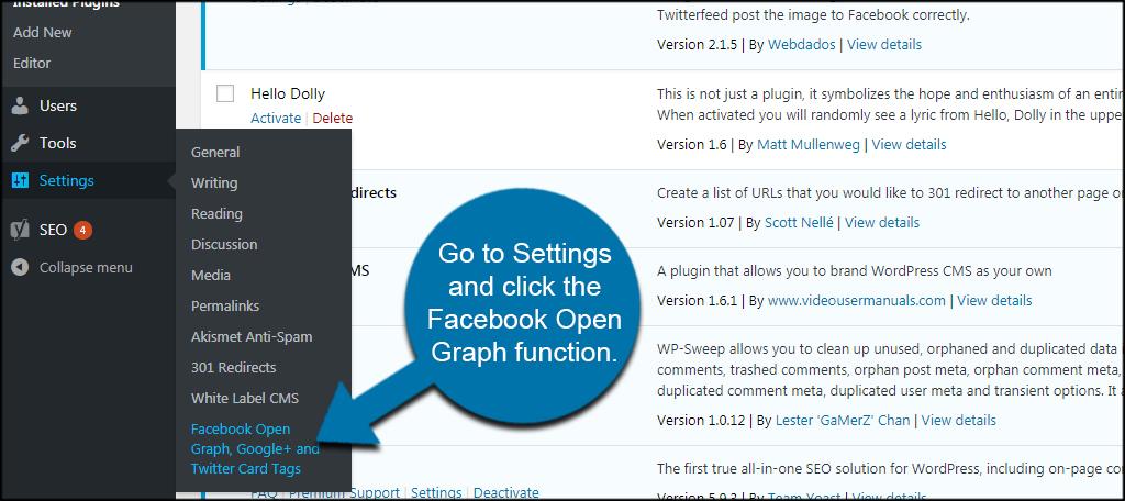 Facebook Open Graph Settings