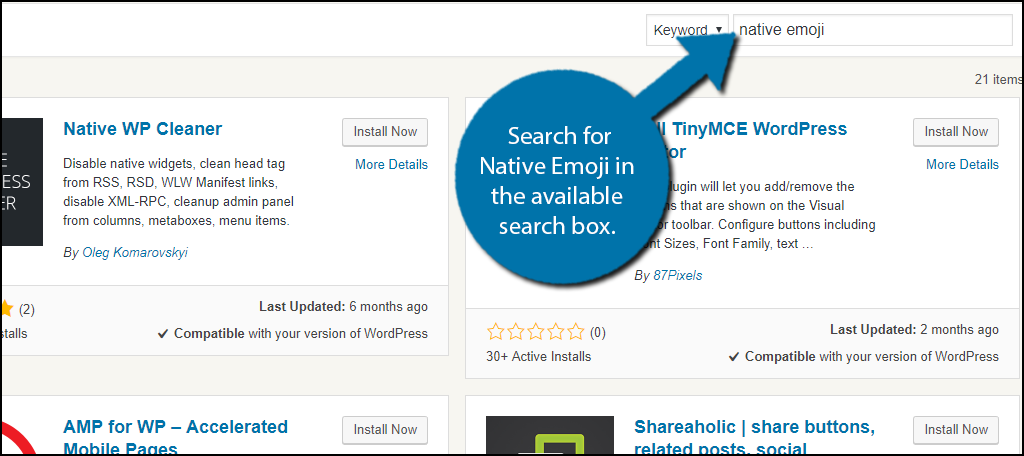 Search for Native Emoji in the available search box.