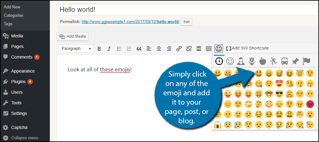 Simply click on any of the emoji and add it to your page, post, or blog.