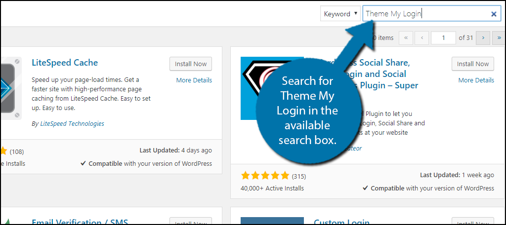 Search forTheme My Login in the available search box.