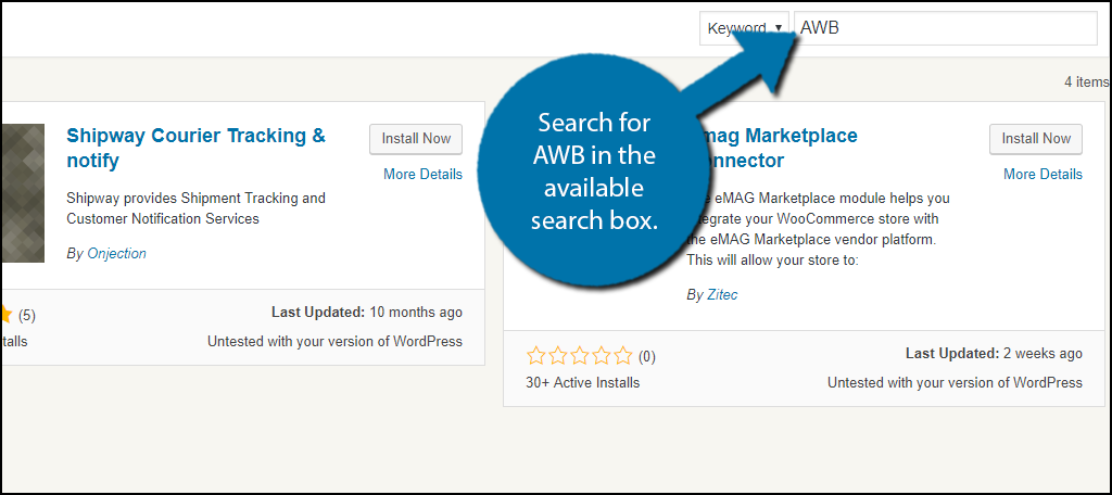 Search forAWB in the available search box.