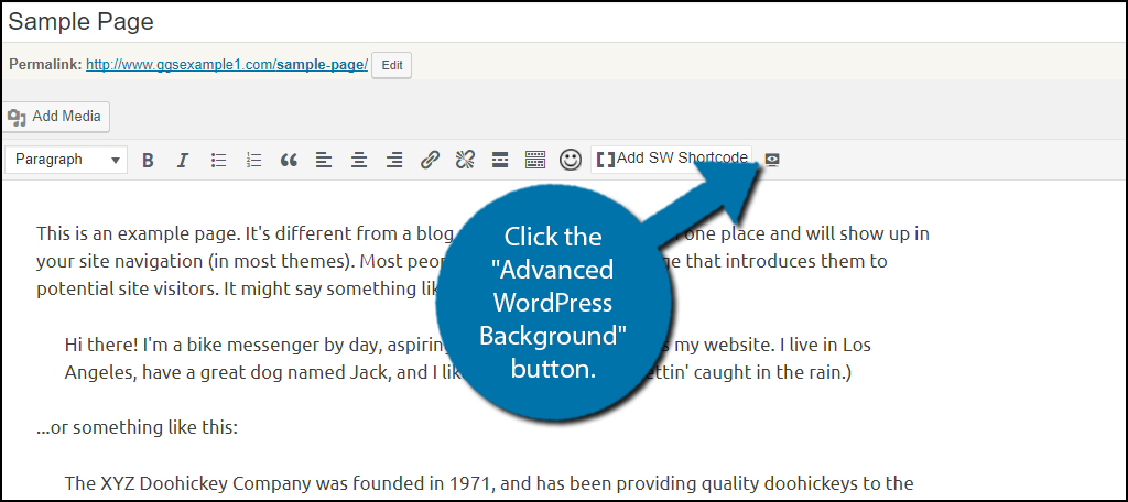 """Click on the """"Advanced WordPress Background"""" button."""
