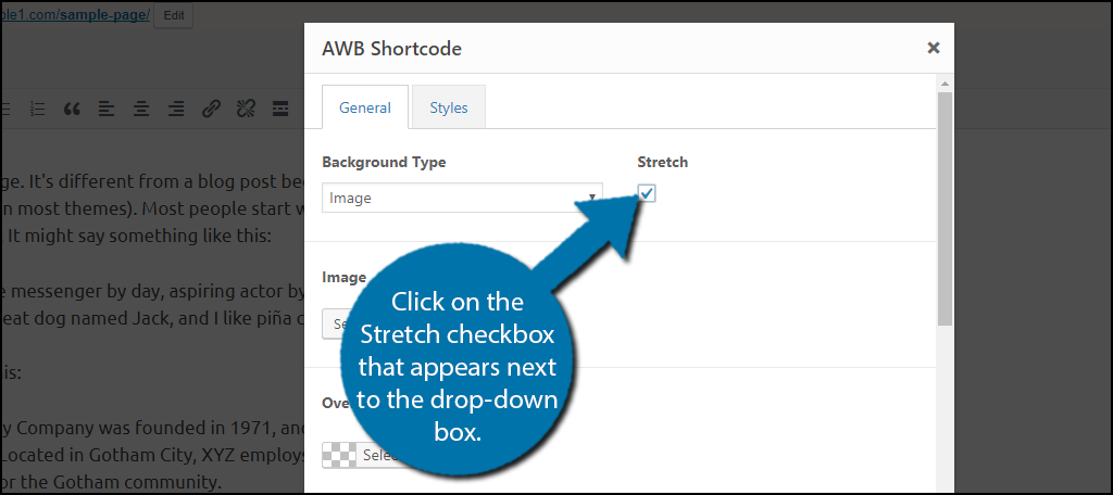 Click on the Stretch checkbox