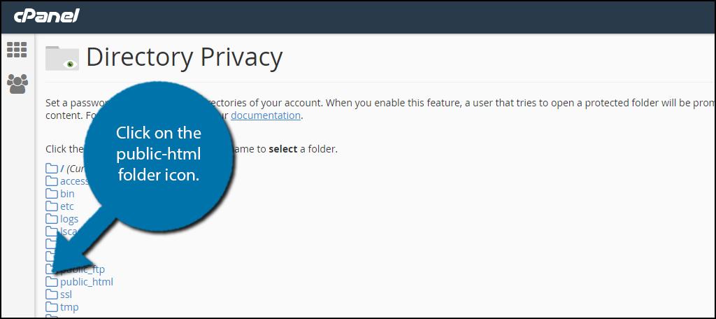 Click on the public_html folder icon.