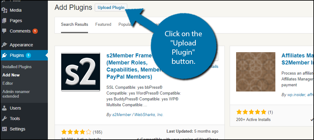 "Click on the ""Upload Plugin"" button."