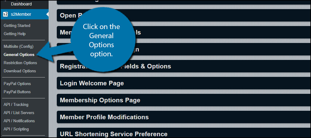 Click on the General Options option.