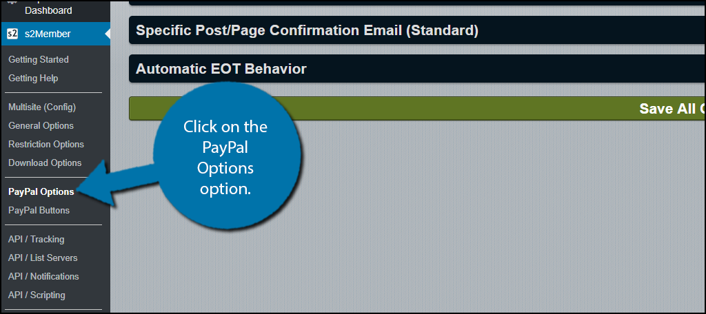 Click on the PayPal Options option.