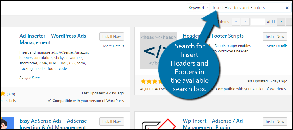 Search for Insert Headers and Footers in the available search box.