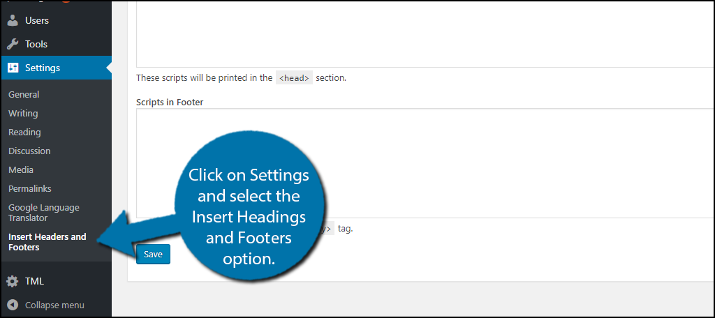 click on Settings and select the Insert Headings and Footers option.